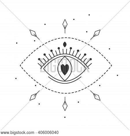 Vector Illustration All Seeing Eye Of Providence. Line Art Mystic Magic Love Eye Symbol. Linear Occu