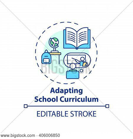 Adapting School Curriculum Concept Icon. Online Teaching Tips. Dynamic Process That Modifies Program