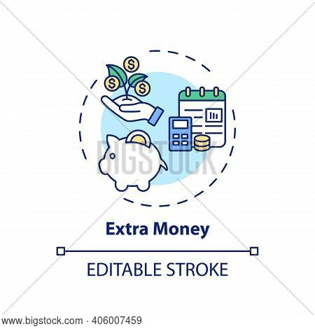 Extra Money Concept Icon. Online Tutoring Benefits. Get Additional Financial Resourses For Your Hard