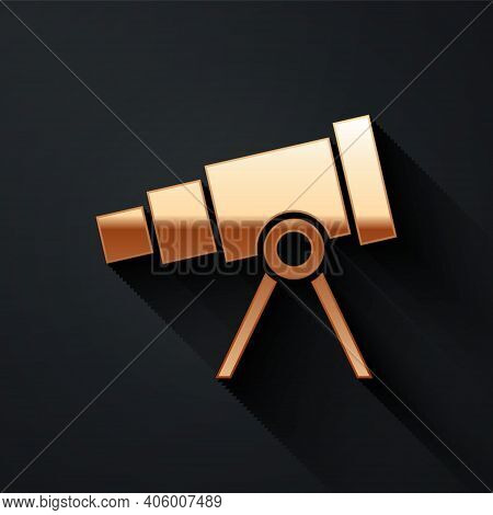 Gold Telescope Icon Isolated On Black Background. Scientific Tool. Education And Astronomy Element,