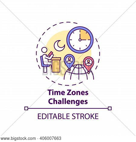 Time Zones Challenges Concept Icon. Online English Teaching Challenges. Get On With New Place Of Liv
