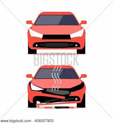 Auto Accident Crash Repair Vector Damage. Car View Insurance Concept