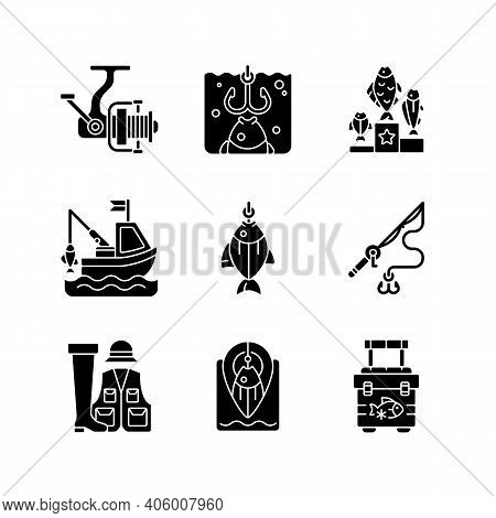 Equipment For Fishing Black Glyph Icons Set On White Space. Boat Fishing. Spinning Casting. Fishing