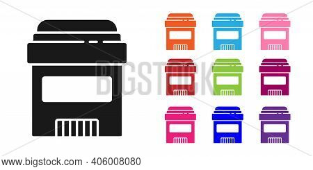 Black Antiperspirant Deodorant Roll Icon Isolated On White Background. Cosmetic For Body Hygiene. Se