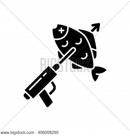 Spearfishing Black Glyph Icon. Fish On Spear. Boat Fishing. Snorkeling And Fishing. Fishing With A S