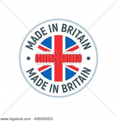 Made In Uk Britain Flag Logo. English Brand Sticker Made In Britain Vector Stamp