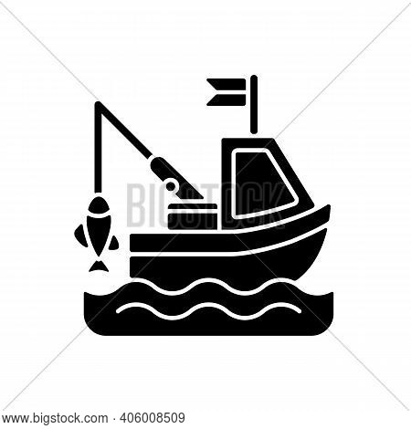 Boat Fishing Black Glyph Icon. Commercial Fishing. Fresh Sea Food. License For Fishing From Boat. Fi