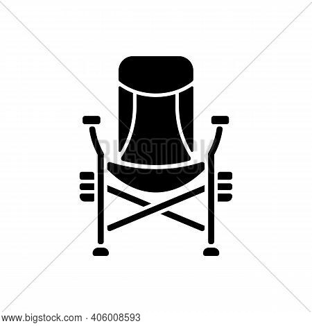 Fishing Lounger Chair Black Glyph Icon. Basic Fishers Equipment. Fishing Tournament. Comfortable Con
