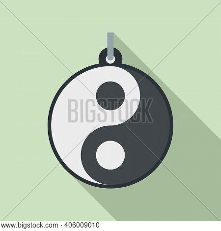 Yin Yang Emblem Icon. Flat Illustration Of Yin Yang Emblem Vector Icon For Web Design