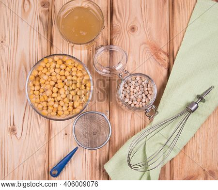 Aquafaba Chickpea Broth Is Used As A Substitute For Eggs In The Preparation Of Many Vegan Dishes. Aq