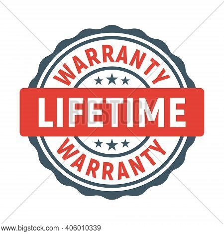 Lifetime Warranty Limited Stamp Round Tag. Warranty Extended Guarantee Icon
