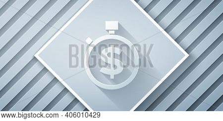 Paper Cut Time Is Money Icon Isolated On Grey Background. Money Is Time. Effective Time Management.