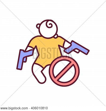 Prevent Child Death With Gun Control Rgb Color Icon. Precaution For Lethal Accident. Protection From
