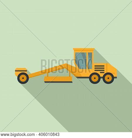 Grader Machine Heavy Icon. Flat Illustration Of Grader Machine Heavy Vector Icon For Web Design