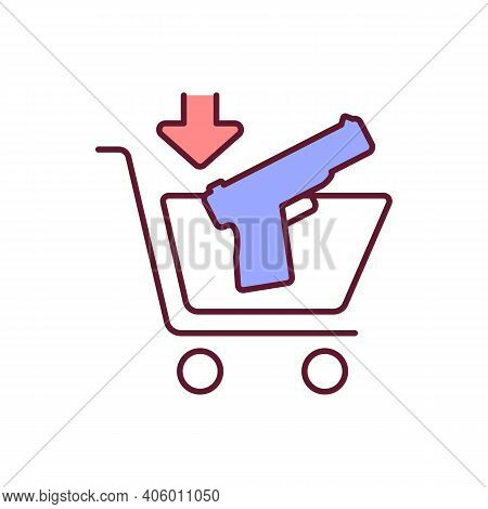 Legal Gun Purchase Rgb Color Icon. Buy Handgun With Permit. Firearms Control. Illegal Pistol Buying.
