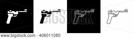 Set Mauser Gun Icon Isolated On Black And White Background. Mauser C96 Is A Semi-automatic Pistol. V