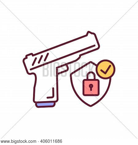 Secure Gun Storing Rgb Color Icon. Firearms Control And Regulation To Ensure Safety. Weapon For Priv