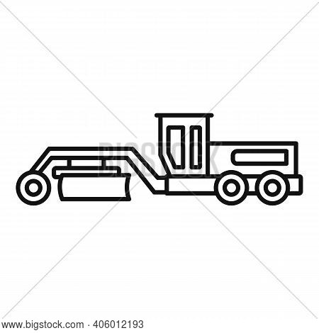 Grader Machine Tractor Icon. Outline Grader Machine Tractor Vector Icon For Web Design Isolated On W