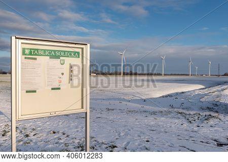 Pruszcz Gdanski - January 31, 2021: Information Board Of The Village Of Pruszcz Gdański. Wind Farm I