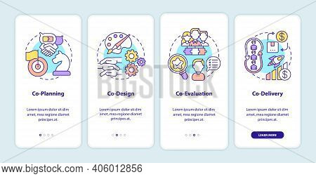 Co-production Elements Onboarding Mobile App Page Screen With Concepts. Co-planning, Co-design, Co-e
