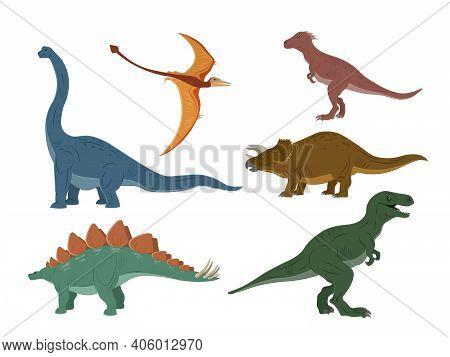 Different Type Of Dinosaurs Illustration. Dinosaurs Cartoon Character. Brachiosaurus, Pterodactyl, T