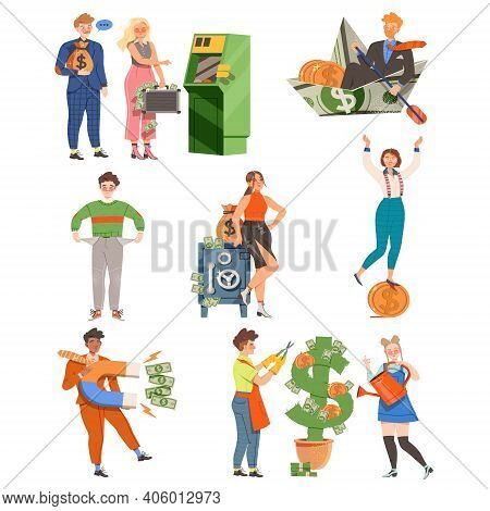 People With Money Coins And Dollar Banknotes As Financial Success Gaining Vector Illustration Set