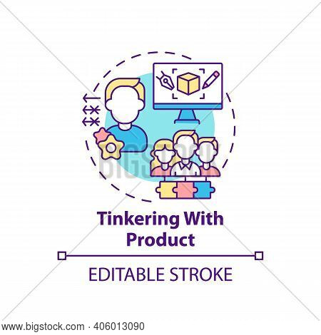 Tinkering With Product Concept Icon. Co Creation Type Idea Thin Line Illustration. Making Modificati