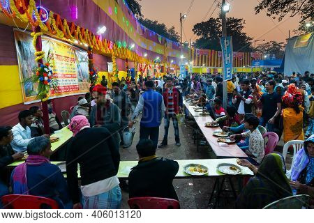 Kolkata, West Bengal, India - 12th January 2020 : Hindu Devotees Being Served Free Meal, Indian Food