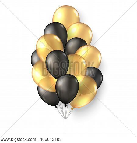 Gold Black Balloons. 3d Realistic Happy Holidays Flying Air Helium Ballon Mock Up.