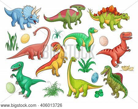 Dinosaur Cartoon Vector Characters With Cute Baby Dino Animals And Eggs. Funny Triceratops, Stegosau