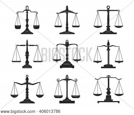Balance Scales Of Justice And Law Isolated Vector Icons. Black Symbols Of Legal Court, Lawyer And Ju
