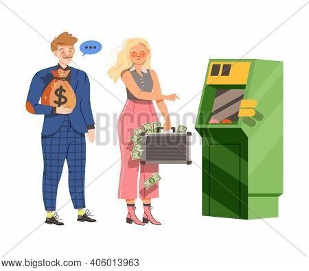 Male And Female Near Cashpoint Machine Holding Sack With Coins And Suitcase With Dollar Banknotes Ve