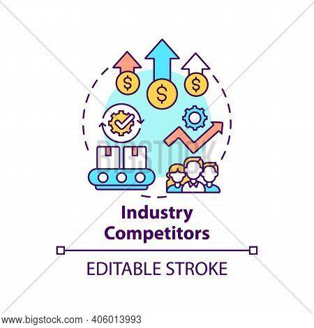 Industry Competitors Concept Icon. Competitive Rivalry Idea Thin Line Illustration. Businesses Selli