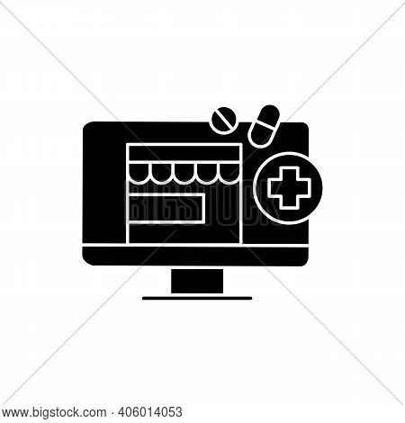 Telepharmacy Glyth Icon. Online Drugstore, Apothecary Website Or Application. Telehealth Medical Car