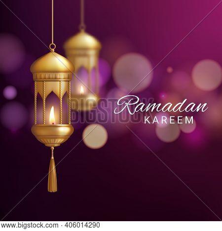Lantern Of Ramadan Kareem Or Eid Mubarak Realistic Vector Greeting Card. Islam Religion Festival 3d