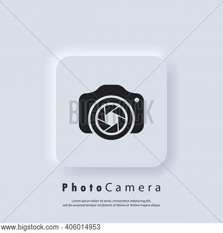 Photo Camera Logo. Camera With Lens Icon. Photography Concept. Vector. Neumorphic Ui Ux White User I