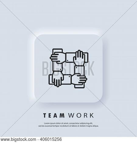Teamwork Icon. Community, Business Partnership Logo. Gour Hands Holding Together For Wrist. Vector.