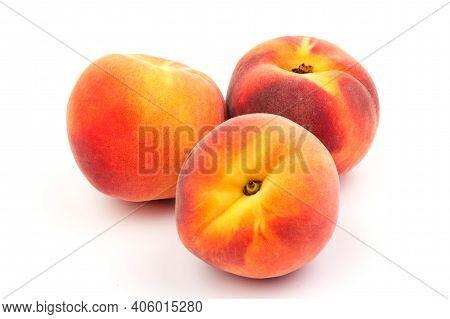 Summer Fruit Background. Ripe Juicy Peaches On White Background. Copy Space. Fresh Organic Fruit Veg