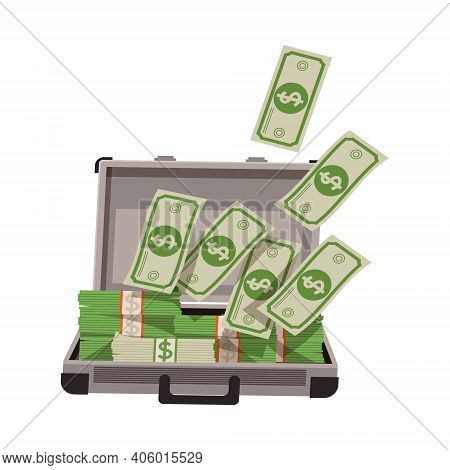 Open Suitcase Full With Dollar Banknotes As Asset And Money Abundance Vector Illustration