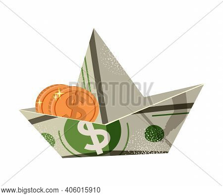 Boat Folded From Dollar Banknote With Coin In It As Asset And Money Abundance Vector Illustration