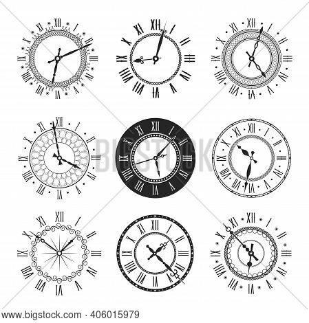 Clock And Watch Face With Vintage Round Dial Vector Icons. Isolated Black And White Timepieces, Anti