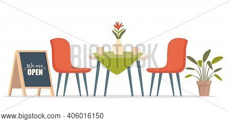 Summer Outdoor Cafe With Table And Seats, Street Chalk Board. Restaurant Scene In Flat Design. Roman