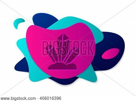 Color Magic Stone Icon Isolated On White Background. Fantasy Crystal. Jewelry Gem For Game. Abstract