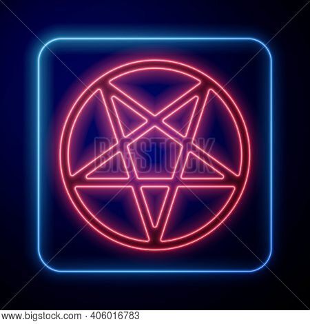 Glowing Neon Pentagram In A Circle Icon Isolated On Blue Background. Magic Occult Star Symbol. Vecto
