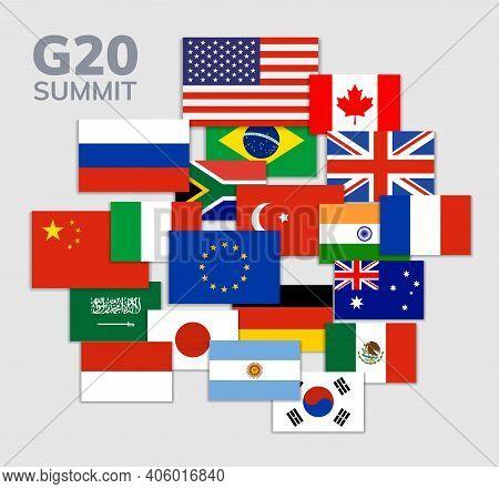 Vector G20 Country Flag Mexico, Usa, Canada. G20 Flag Set Icon