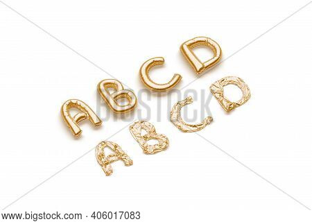 Inflated, Deflated Gold A B C D Letters, Balloon Font, 3d Rendering. Festival Symbol For Baby Gender