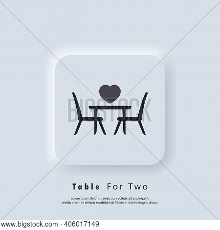 Table For Two. Table And Chairs. Dining Table And Chairs For Two People. Vector. Ui Icon. Neumorphic