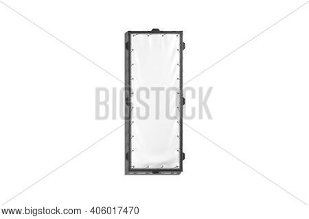 Blank White Narrow Stretching Banner With Black Grip Frame Mockup, 3d Rendering. Empty Textile Signa