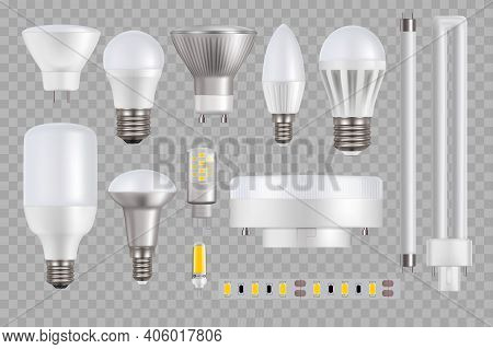 Led Light Bulb And Lamp Vector Mockups On Transparent Background. 3d Realistic Light-emitted Diode L