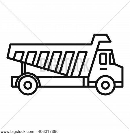 Tipper Unloading Icon. Outline Tipper Unloading Vector Icon For Web Design Isolated On White Backgro